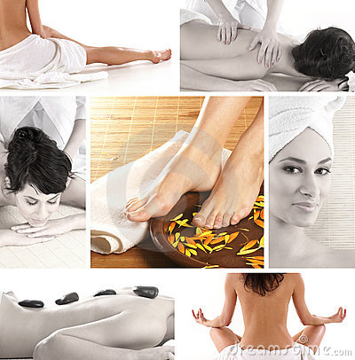 A collage of spa treatment images with young women