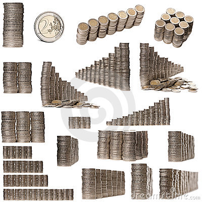 Collage of stacks of 2 Euros Coins