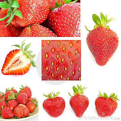 Collage of strawberry