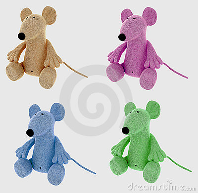 Collage of stuffed mouse toys