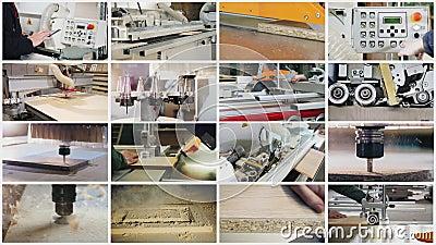 Collage sur le th?me de la production des meubles banque de vidéos