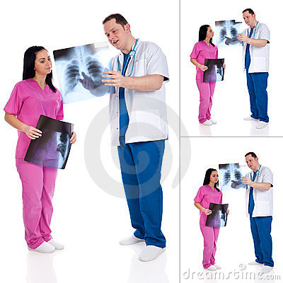 Collage of two doctors with radiography