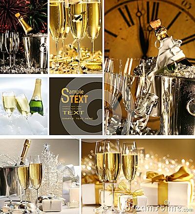 Collage van champagnebeelden
