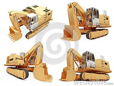 Collage van geïsoleerdeg bouwvrachtwagen