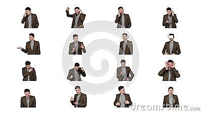 Collage van videobeelden van de donkerbruine die mens op wit worden ge?soleerd stock footage