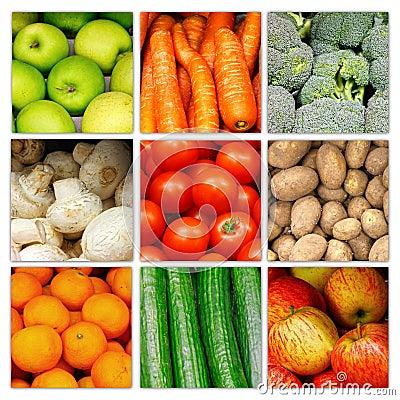 Collage vegetal de la fruta