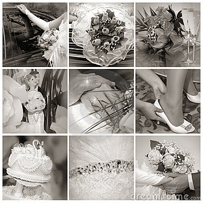 Collage from wedding photos. Nine in one