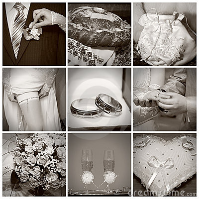 Collage from wedding photos. Sepia