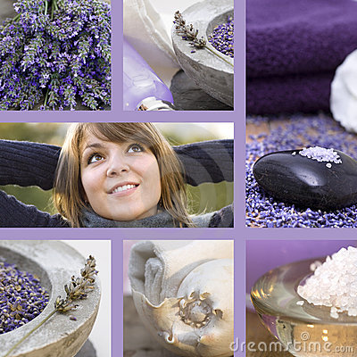 Collage wellness concept with lavender