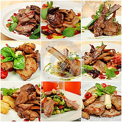 Free Collage With Meat Meals Stock Photo - 29010240