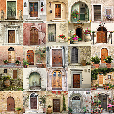 Free Collage With Retro Doors In Italy Royalty Free Stock Images - 20635739