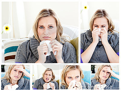 Collage of a woman having a cold