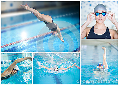 Collage of woman swimming in the indoor pool