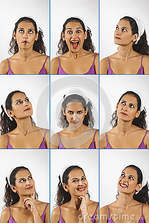 Collage of young woman face expressions