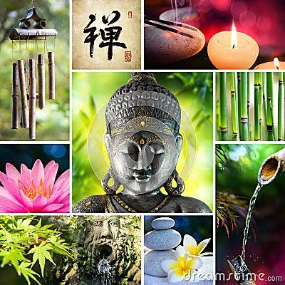 Free Collage Zen - Asian Mosaic Royalty Free Stock Photos - 74676958