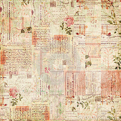 Collageephemera blommar paper texttappning