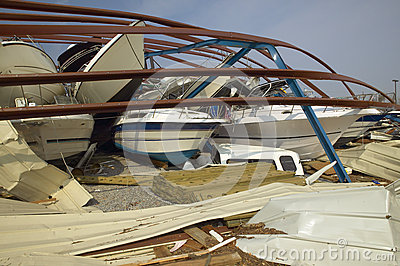 Collapsed boat storage facility from Hurricane Iva Editorial Photo