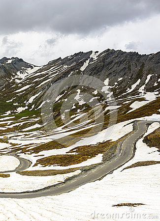 Colle dell Agnello, French Alps: the road in june