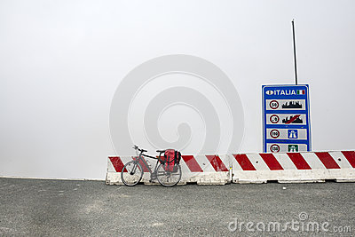 Colle dell Agnello, Italian Alps: bicycle and fog