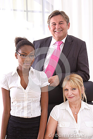 Colleagues in the office - happy teamwork