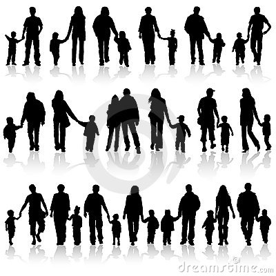 Free Collect Family Silhouettes Stock Photos - 13456893