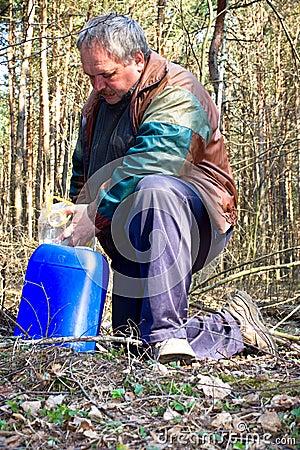 Collecting birch sap