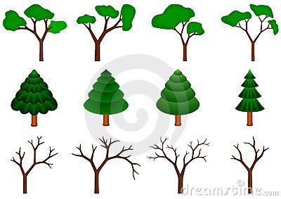 Collection of 12  trees