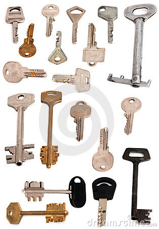 Collection of 19 keys isolated white
