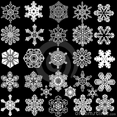Collection of 28 symmetrical snowflakes.