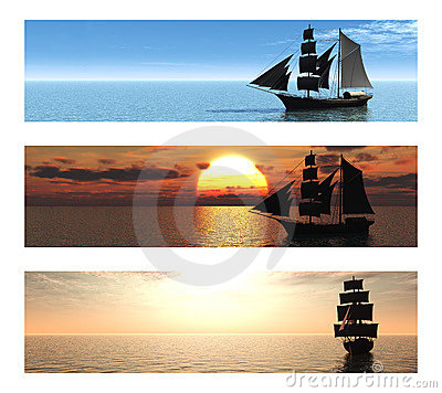 Collection of 3 banners with ships at sea.