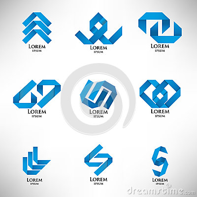 Collection of abstract blue logo in origami style