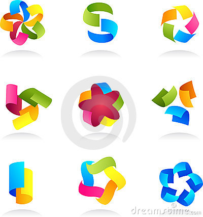 Collection of abstract colorful icons