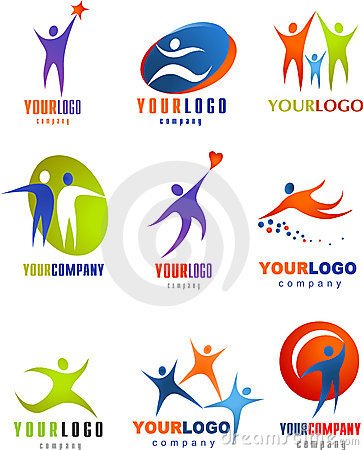 Collection of abstract people logos