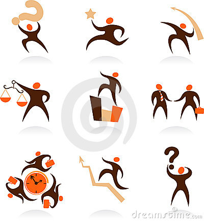 Collection of abstract people logos - 8