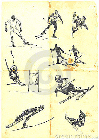 Collection of alpine skiing
