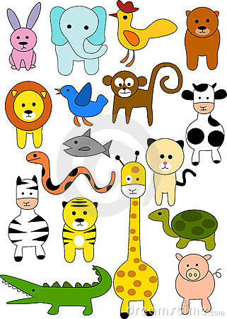 Collection of animal doodle
