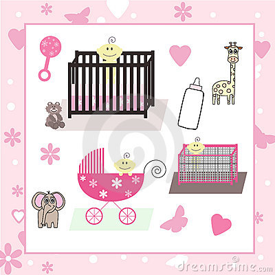 Collection of Baby Girl & Animal Vectors