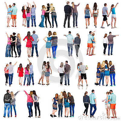 Free Collection  Back View Of Group People. Set  Stock Photography - 49576092