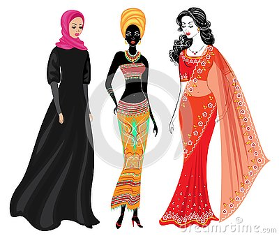 A collection of beautiful ladies. A Muslim, an African-American girl and an Indian woman. National clothes. Set of vector Cartoon Illustration