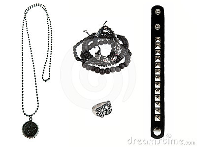 Collection of black rock jewelry
