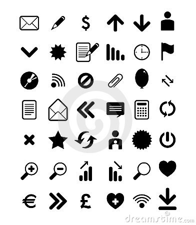 Collection of black web icon