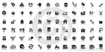 Collection of black web icon Stock Photo