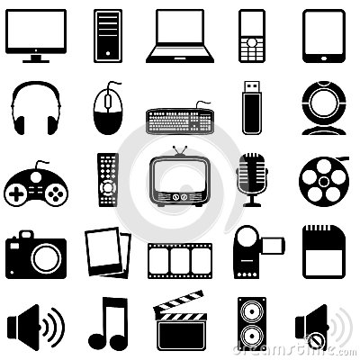 Multimedia Black & White Icons
