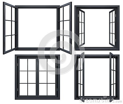 black open closed window frames isolated on white