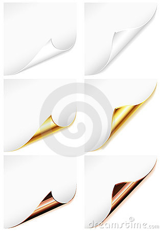Collection Blank Sheet of Paper with Curved Corner