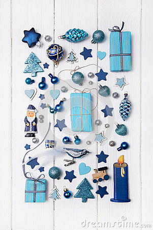 Collection of blue and turquoise miniatures with presents for ch Stock Photo