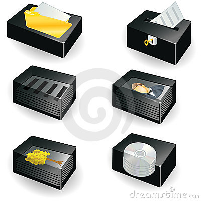 Collection of boxes - document icons serial