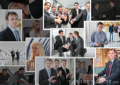 Collection of business photos with people, collage