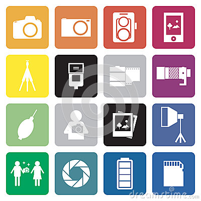 Collection of 16 camera&photographer sign icon. .