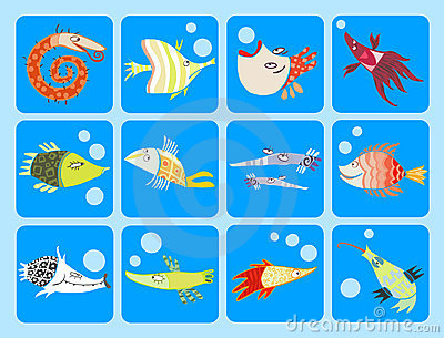 Collection of cartoon fish